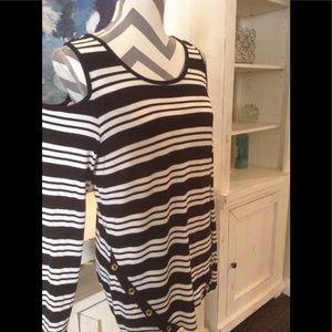 NWT!  Michael Kors cold shoulder striped top SZ LG
